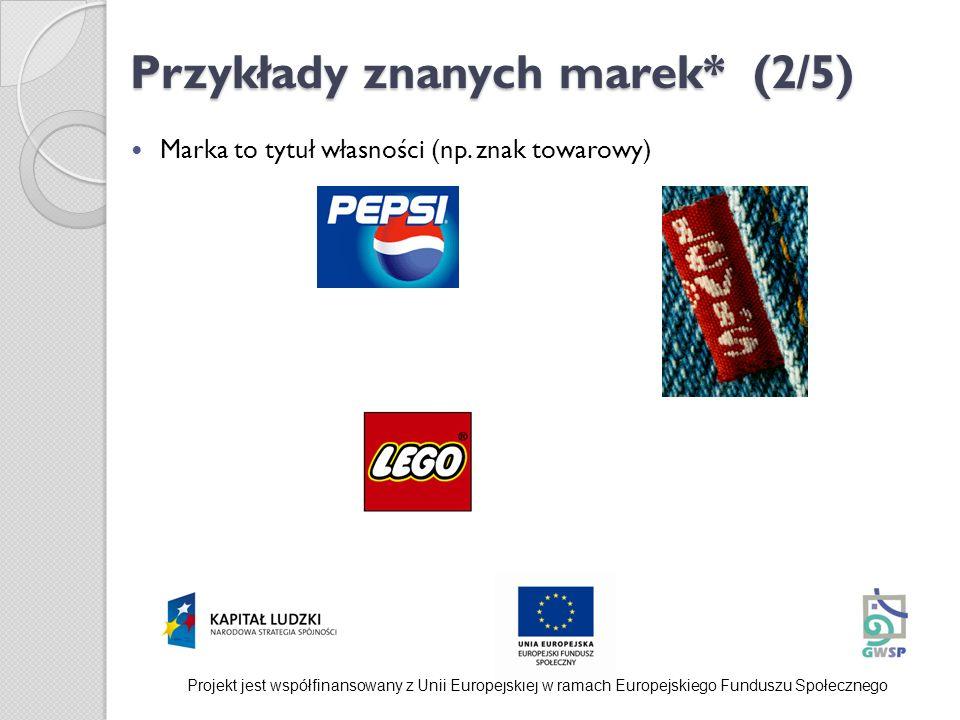 Przykłady znanych marek* (2/5) Marka to tytuł własności (np. znak towarowy) Projekt jest współfinansowany z Unii Europejskiej w ramach Europejskiego F