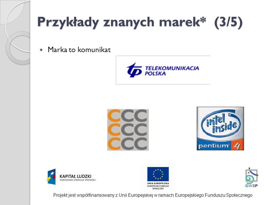 Przykłady znanych marek* (3/5) Marka to komunikat Projekt jest współfinansowany z Unii Europejskiej w ramach Europejskiego Funduszu Społecznego