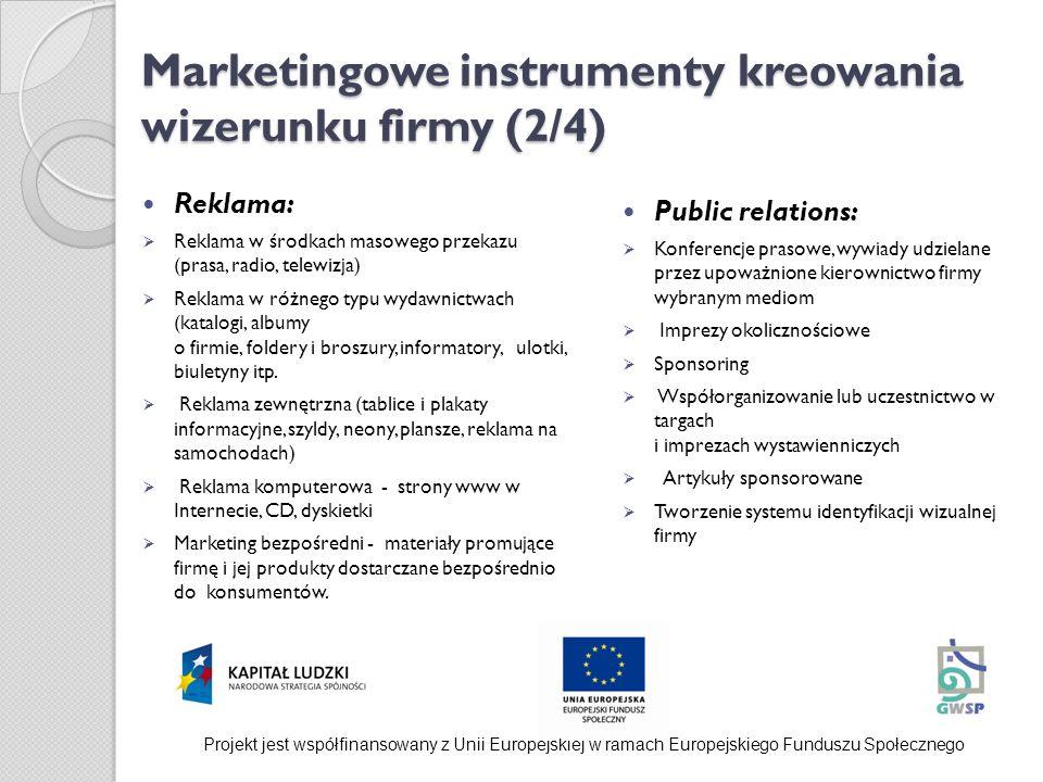 Marketingowe instrumenty kreowania wizerunku firmy (2/4) Reklama: Reklama w środkach masowego przekazu (prasa, radio, telewizja) Reklama w różnego typ