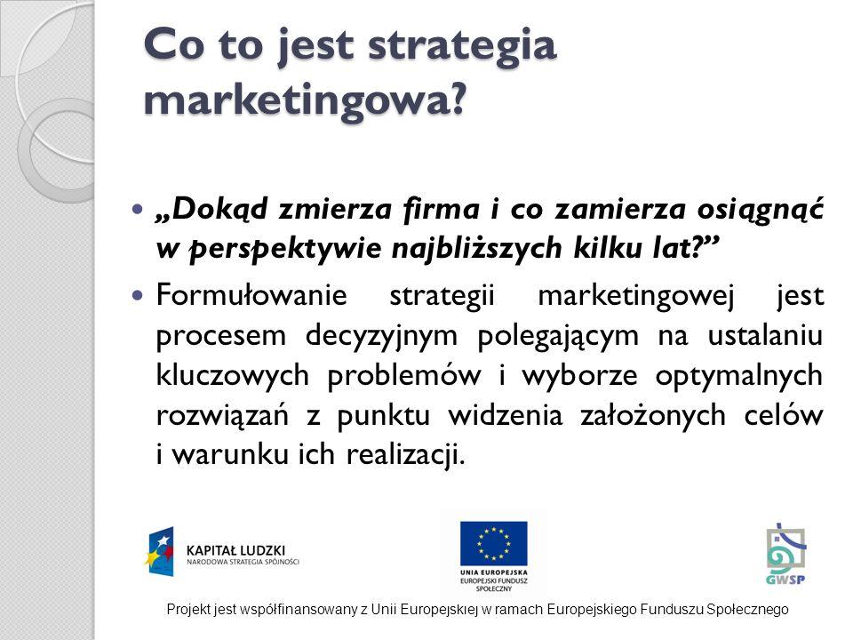 Co to jest strategia marketingowa? Dokąd zmierza firma i co zamierza osiągnąć w perspektywie najbliższych kilku lat? Formułowanie strategii marketingo