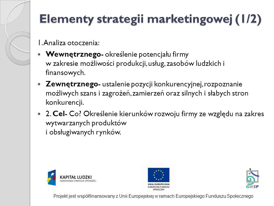 Elementy strategii marketingowej (1/2) 1. Analiza otoczenia: Wewnętrznego- określenie potencjału firmy w zakresie możliwości produkcji, usług, zasobów