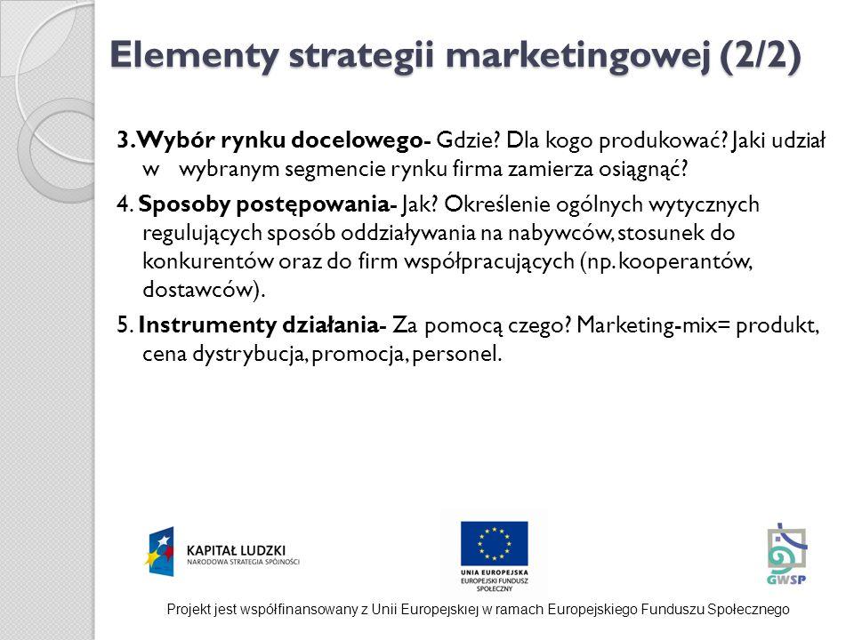 Elementy strategii marketingowej (2/2) 3.Wybór rynku docelowego- Gdzie? Dla kogo produkować? Jaki udział w wybranym segmencie rynku firma zamierza osi