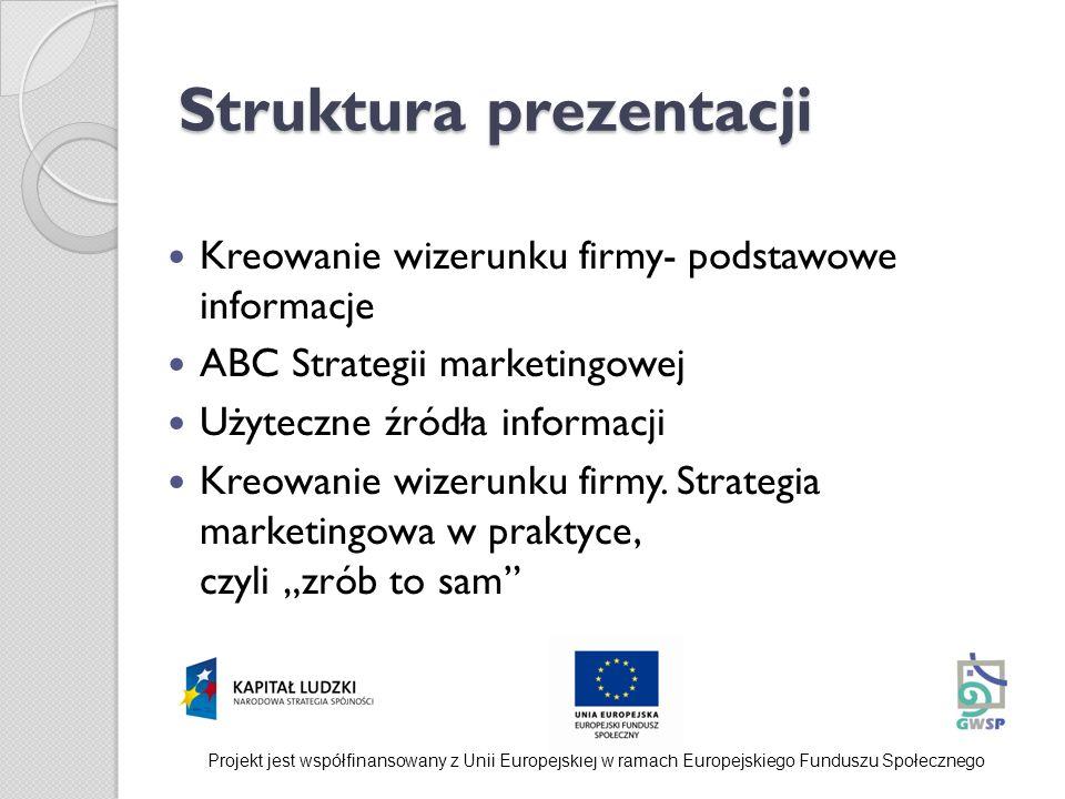 Struktura prezentacji Kreowanie wizerunku firmy- podstawowe informacje ABC Strategii marketingowej Użyteczne źródła informacji Kreowanie wizerunku fir
