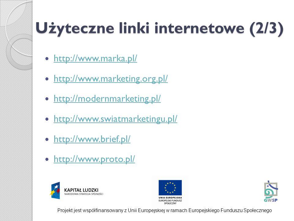 Użyteczne linki internetowe (2/3) http://www.marka.pl/ http://www.marketing.org.pl/ http://modernmarketing.pl/ http://www.swiatmarketingu.pl/ http://w