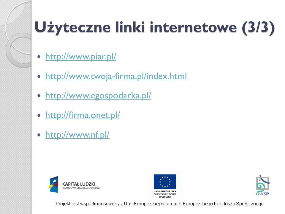 Użyteczne linki internetowe (3/3) http://www.piar.pl/ http://www.twoja-firma.pl/index.html http://www.egospodarka.pl/ http://firma.onet.pl/ http://www