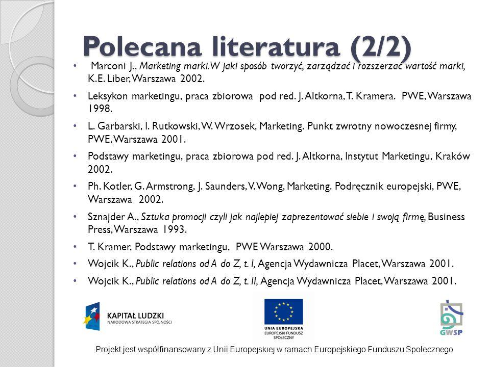 Polecana literatura (2/2) Marconi J., Marketing marki. W jaki sposób tworzyć, zarządzać i rozszerzać wartość marki, K.E. Liber, Warszawa 2002. Leksyko