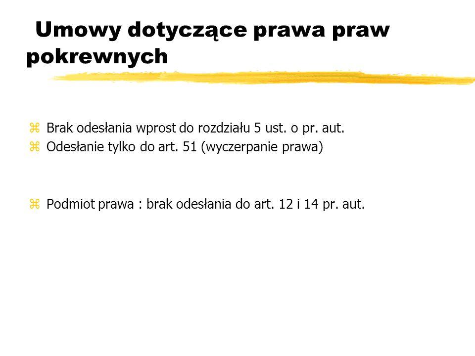 Umowy dotyczące prawa praw pokrewnych zBrak odesłania wprost do rozdziału 5 ust. o pr. aut. zOdesłanie tylko do art. 51 (wyczerpanie prawa) zPodmiot p