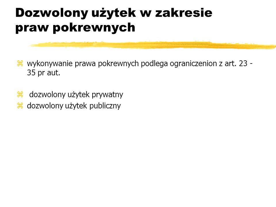 Dozwolony użytek w zakresie praw pokrewnych zwykonywanie prawa pokrewnych podlega ograniczenion z art. 23 - 35 pr aut. z dozwolony użytek prywatny zdo