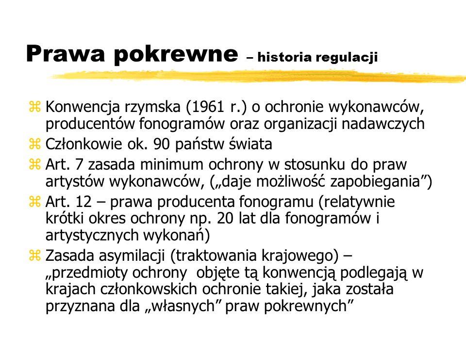Prawa pokrewne – historia regulacji zKonwencja rzymska (1961 r.) o ochronie wykonawców, producentów fonogramów oraz organizacji nadawczych zCzłonkowie