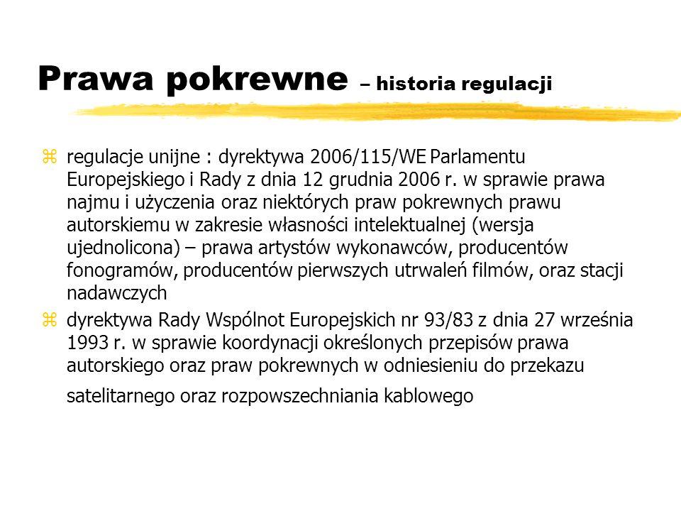 Prawa pokrewne – historia regulacji zregulacje unijne : dyrektywa 2006/115/WE Parlamentu Europejskiego i Rady z dnia 12 grudnia 2006 r. w sprawie praw