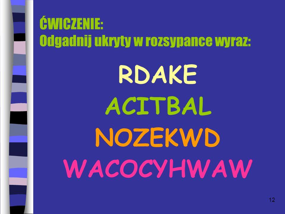12 ĆWICZENIE: Odgadnij ukryty w rozsypance wyraz: RDAKE ACITBAL NOZEKWD WACOCYHWAW