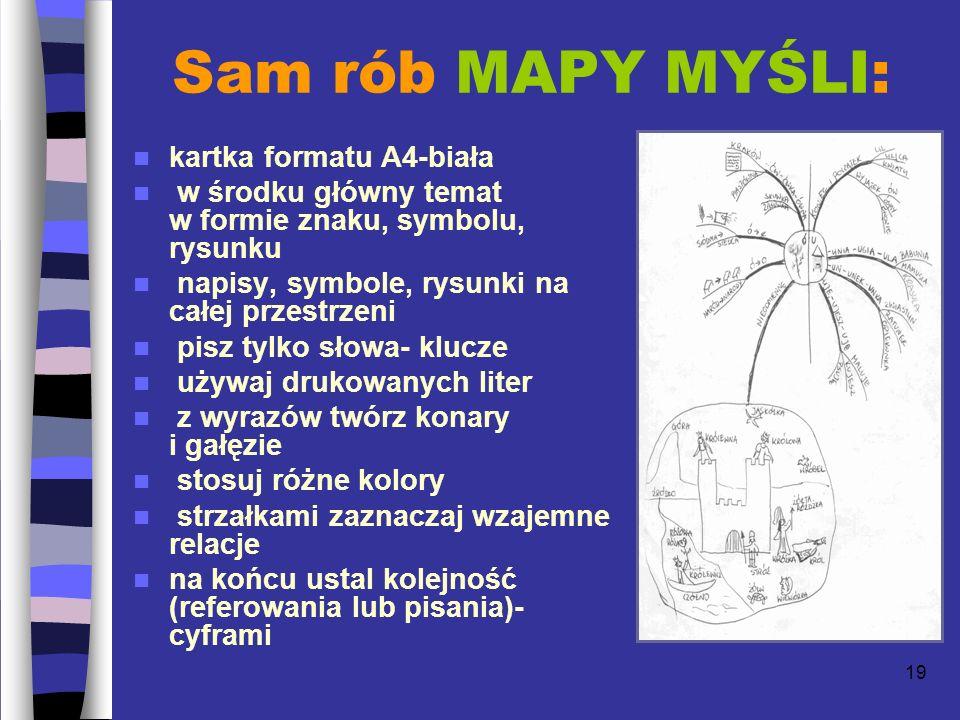 19 Sam rób MAPY MYŚLI: kartka formatu A4-biała w środku główny temat w formie znaku, symbolu, rysunku napisy, symbole, rysunki na całej przestrzeni pisz tylko słowa- klucze używaj drukowanych liter z wyrazów twórz konary i gałęzie stosuj różne kolory strzałkami zaznaczaj wzajemne relacje na końcu ustal kolejność (referowania lub pisania)- cyframi