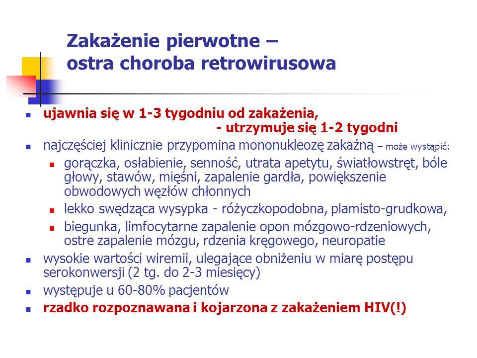 Zakażenie pierwotne – ostra choroba retrowirusowa ujawnia się w 1-3 tygodniu od zakażenia, - utrzymuje się 1-2 tygodni najczęściej klinicznie przypomi
