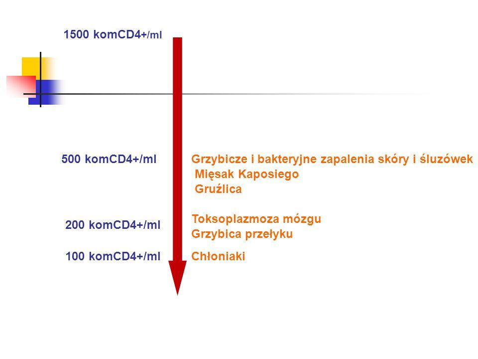 1500 komCD4 +/ml 500 komCD4+/ml 200 komCD4+/ml 100 komCD4+/ml Grzybicze i bakteryjne zapalenia skóry i śluzówek Mięsak Kaposiego Gruźlica Toksoplazmoz