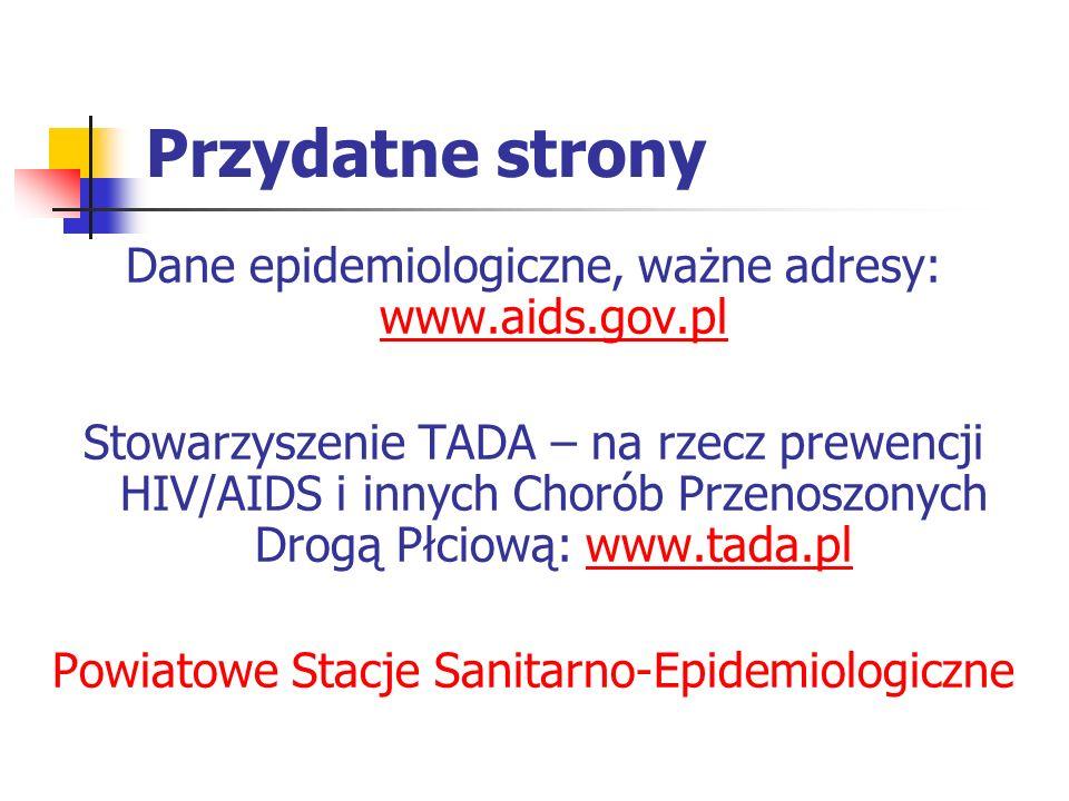 Przydatne strony Dane epidemiologiczne, ważne adresy: www.aids.gov.pl www.aids.gov.pl Stowarzyszenie TADA – na rzecz prewencji HIV/AIDS i innych Choró