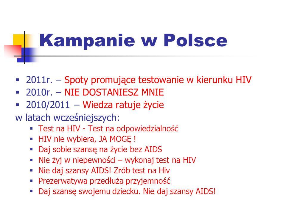 Kampanie w Polsce 2011r. – Spoty promujące testowanie w kierunku HIV 2010r. – NIE DOSTANIESZ MNIE 2010/2011 – Wiedza ratuje życie w latach wcześniejsz