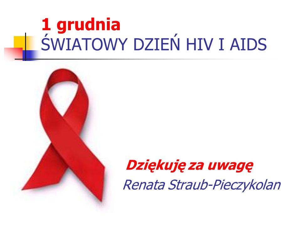 1 grudnia ŚWIATOWY DZIEŃ HIV I AIDS Dziękuję za uwagę Renata Straub-Pieczykolan