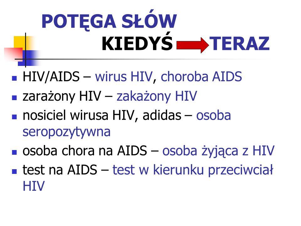 POTĘGA SŁÓW KIEDYŚ TERAZ HIV/AIDS – wirus HIV, choroba AIDS zarażony HIV – zakażony HIV nosiciel wirusa HIV, adidas – osoba seropozytywna osoba chora