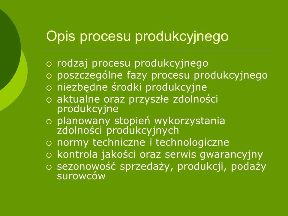 Opis procesu produkcyjnego rodzaj procesu produkcyjnego poszczególne fazy procesu produkcyjnego niezbędne środki produkcyjne aktualne oraz przyszłe zd