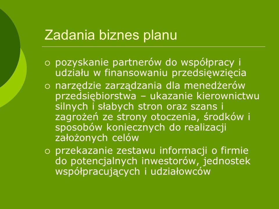 Zadania biznes planu pozyskanie partnerów do współpracy i udziału w finansowaniu przedsięwzięcia narzędzie zarządzania dla menedżerów przedsiębiorstwa