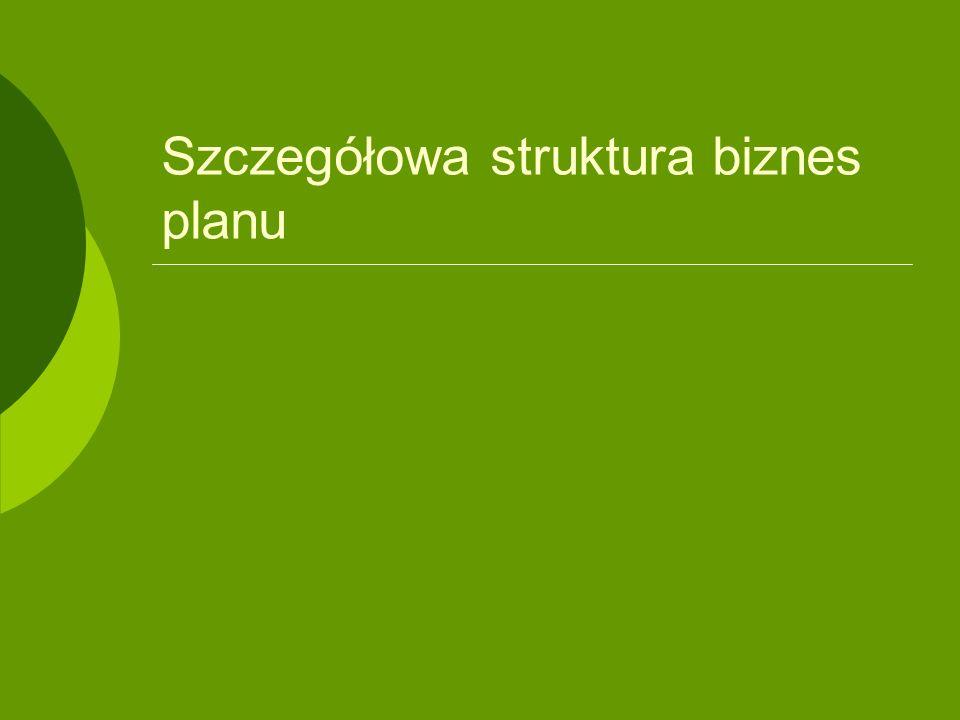 Szczegółowa struktura biznes planu