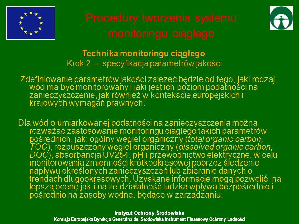 Instytut Ochrony Środowiska Komisja Europejska Dyrekcja Generalna ds. Środowiska Instrument Finansowy Ochrony Ludności Zdefiniowanie parametrów jakośc