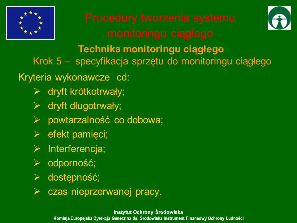 Instytut Ochrony Środowiska Komisja Europejska Dyrekcja Generalna ds. Środowiska Instrument Finansowy Ochrony Ludności Kryteria wykonawcze cd: dryft k
