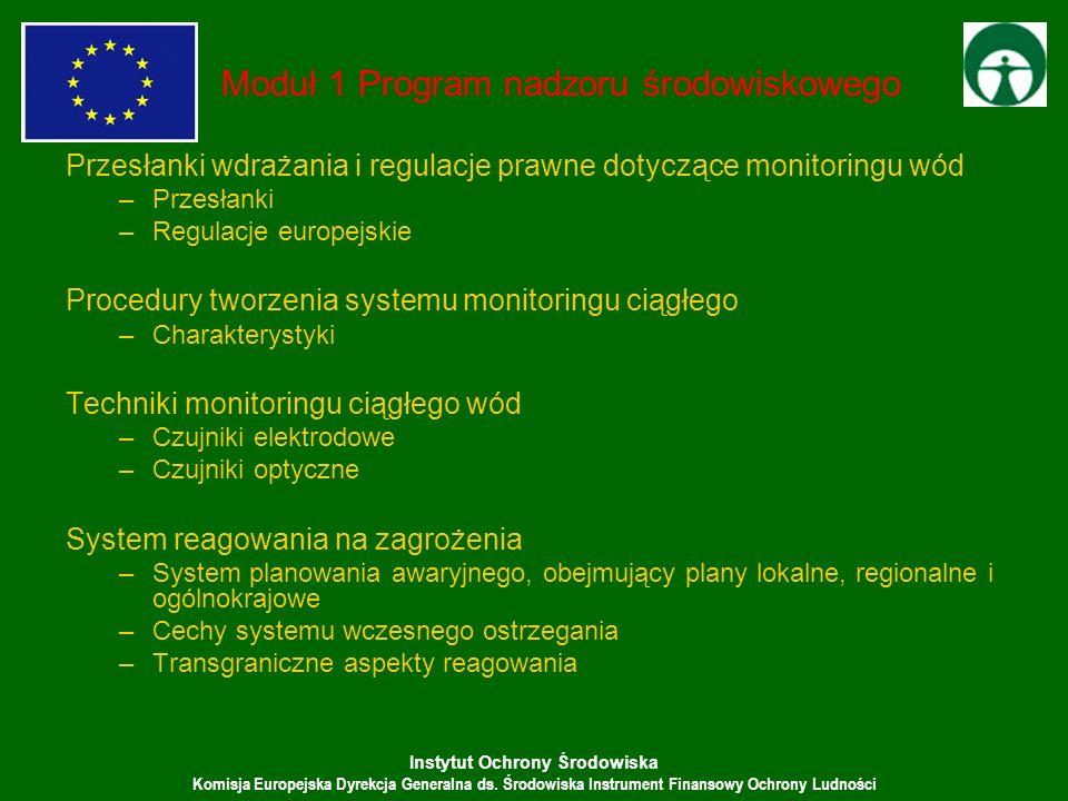 Instytut Ochrony Środowiska Komisja Europejska Dyrekcja Generalna ds. Środowiska Instrument Finansowy Ochrony Ludności Moduł 1 Program nadzoru środowi