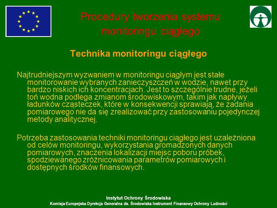 Instytut Ochrony Środowiska Komisja Europejska Dyrekcja Generalna ds. Środowiska Instrument Finansowy Ochrony Ludności Procedury tworzenia systemu mon