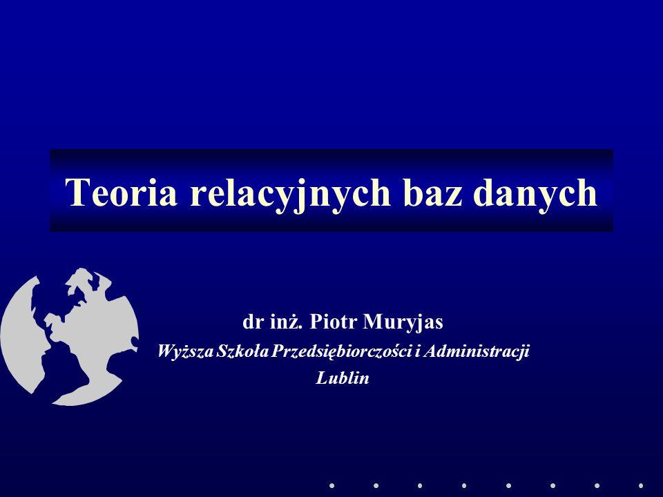 2©Piotr Muryjas Plan Założenia relacyjnego modelu danych Podstawowe pojęcia Relacje i ich cechy Klucze i ich rodzaje Integralność Elementarne operacje na relacjach Cechy relacyjnych bazy danych (RBD) Architektura SZRBD Budowa RBD (normalizacja, warunki integralności, indeksy)