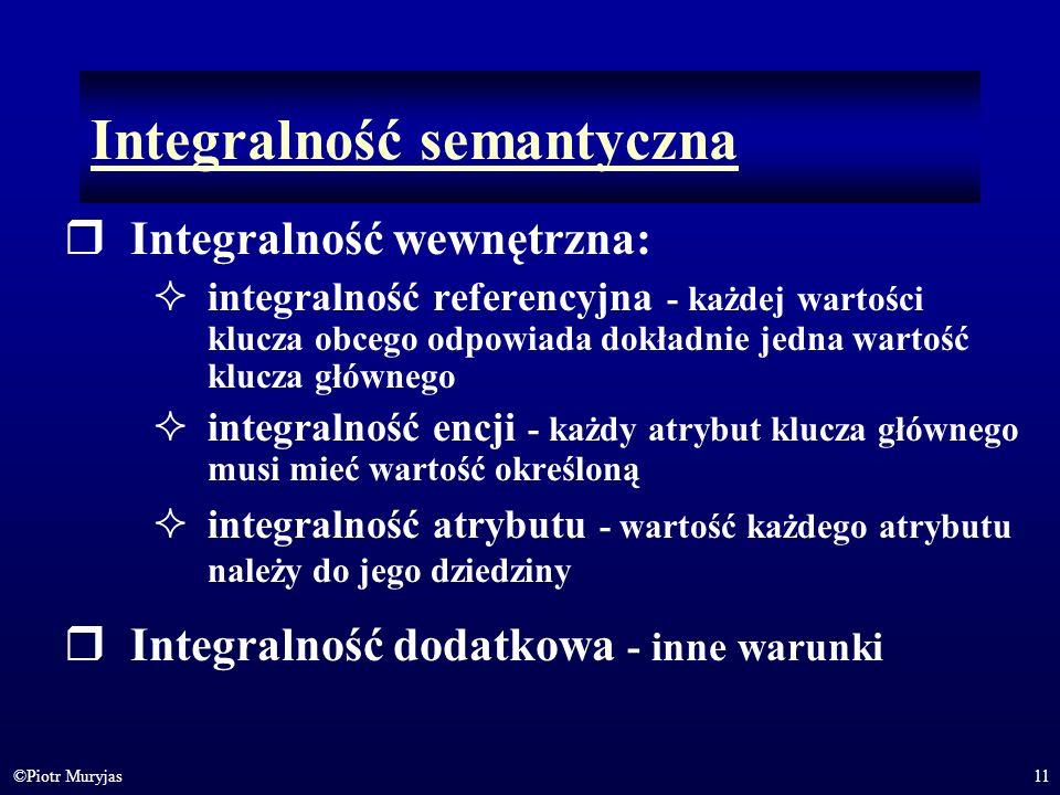 11©Piotr Muryjas Integralność semantyczna Integralność wewnętrzna: integralność referencyjna - każdej wartości klucza obcego odpowiada dokładnie jedna