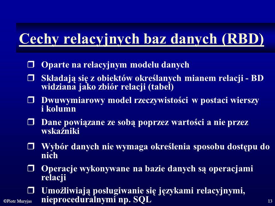 13©Piotr Muryjas Cechy relacyjnych baz danych (RBD) Oparte na relacyjnym modelu danych Składają się z obiektów określanych mianem relacji - BD widzian