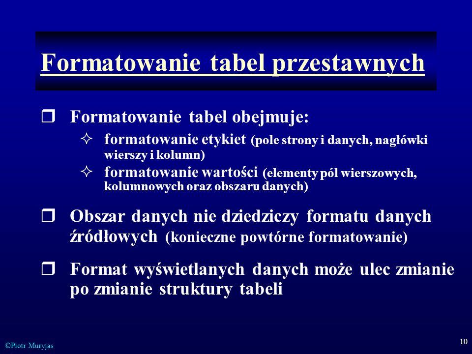 10 ©Piotr Muryjas Formatowanie tabel przestawnych Formatowanie tabel obejmuje: formatowanie etykiet (pole strony i danych, nagłówki wierszy i kolumn)