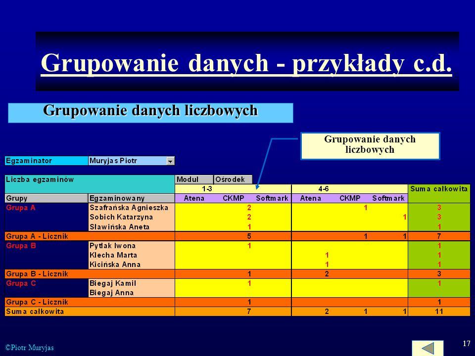 17 ©Piotr Muryjas Grupowanie danych - przykłady c.d. Grupowanie danych liczbowych