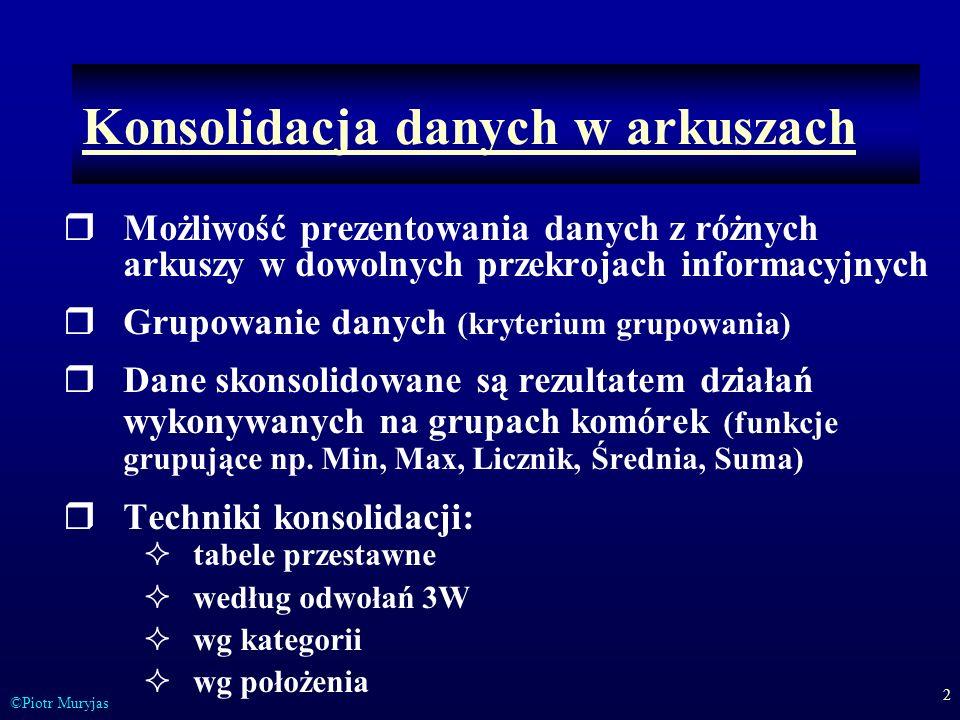 2 ©Piotr Muryjas Konsolidacja danych w arkuszach Możliwość prezentowania danych z różnych arkuszy w dowolnych przekrojach informacyjnych Grupowanie da