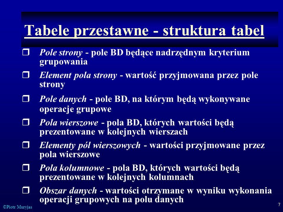 7 ©Piotr Muryjas Tabele przestawne - struktura tabel Pole strony - pole BD będące nadrzędnym kryterium grupowania Element pola strony - wartość przyjm