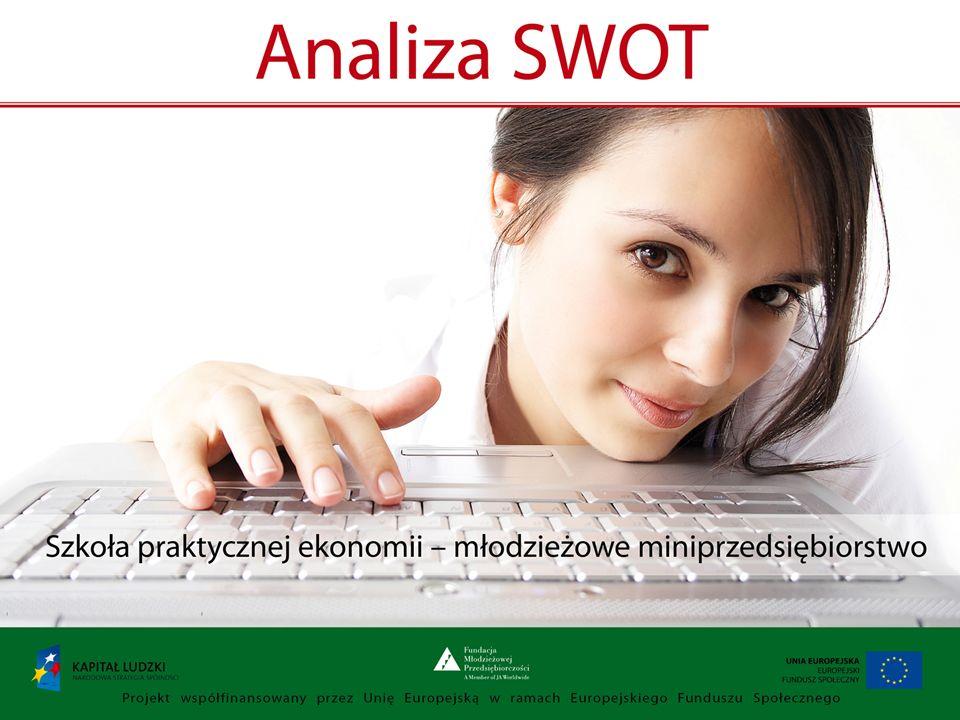 Analiza SWOT to: Technika pozwalająca na przeprowadzenie analizy firmy w oparciu o czynniki mające wpływ na jej działalność Tabela z dwoma wierszami i dwiema kolumnami; górny wiersz pokazuje czynniki zależne od firmy (silne strony i słabości),a dolny - niezależne od niej(szanse i zagrożenia) Każdy z czynników powinien być zawsze rozpatrywany w odniesieniu do czynników z innych części ANALIZA SWOT