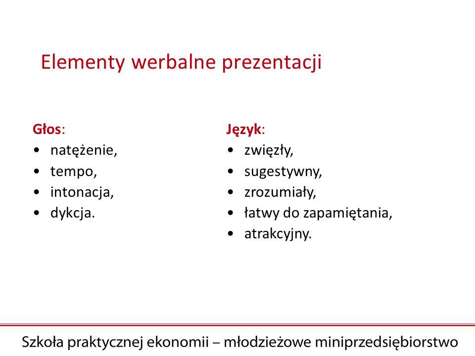 Elementy werbalne prezentacji Głos: natężenie, tempo, intonacja, dykcja. Język: zwięzły, sugestywny, zrozumiały, łatwy do zapamiętania, atrakcyjny.