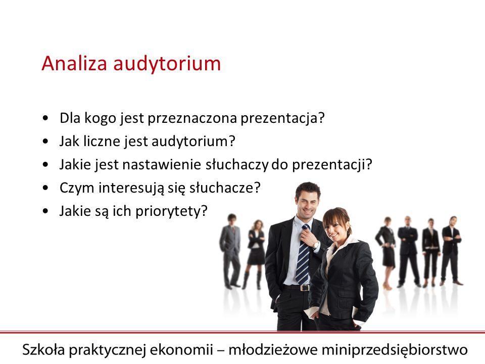 Analiza audytorium Dla kogo jest przeznaczona prezentacja? Jak liczne jest audytorium? Jakie jest nastawienie słuchaczy do prezentacji? Czym interesuj