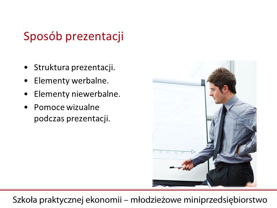Sposób prezentacji Struktura prezentacji. Elementy werbalne. Elementy niewerbalne. Pomoce wizualne podczas prezentacji.