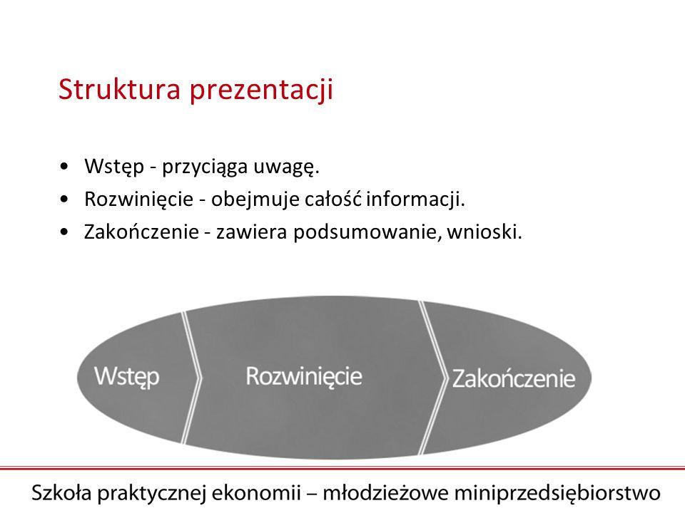 Struktura prezentacji Wstęp - przyciąga uwagę. Rozwinięcie - obejmuje całość informacji. Zakończenie - zawiera podsumowanie, wnioski.