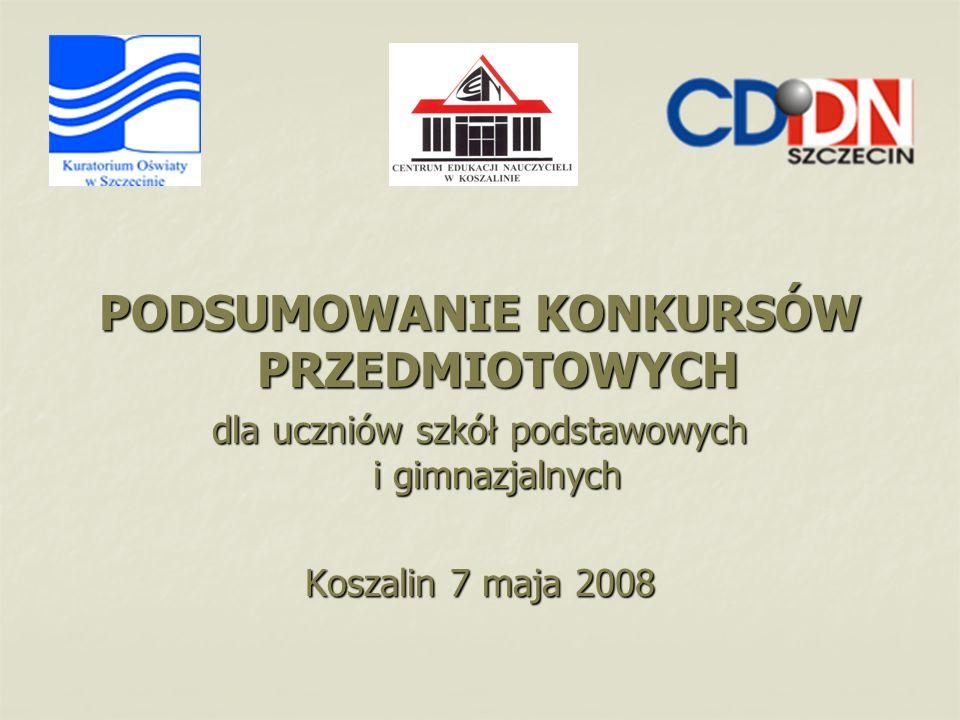 PODSUMOWANIE KONKURSÓW PRZEDMIOTOWYCH dla uczniów szkół podstawowych i gimnazjalnych Koszalin 7 maja 2008