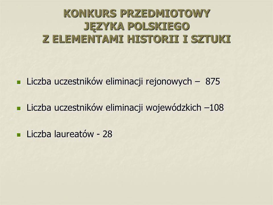 Liczba uczestników eliminacji rejonowych – 875 Liczba uczestników eliminacji rejonowych – 875 Liczba uczestników eliminacji wojewódzkich –108 Liczba u