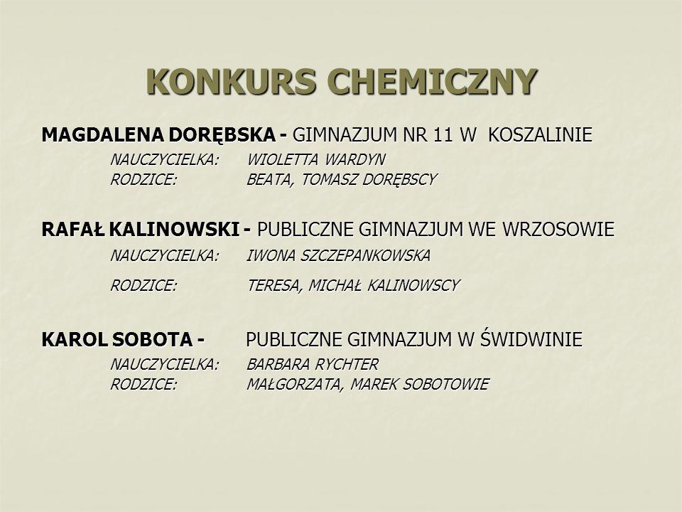 KONKURS CHEMICZNY MAGDALENA DORĘBSKA - GIMNAZJUM NR 11 W KOSZALINIE NAUCZYCIELKA: WIOLETTA WARDYN RODZICE: BEATA, TOMASZ DORĘBSCY RAFAŁ KALINOWSKI - P