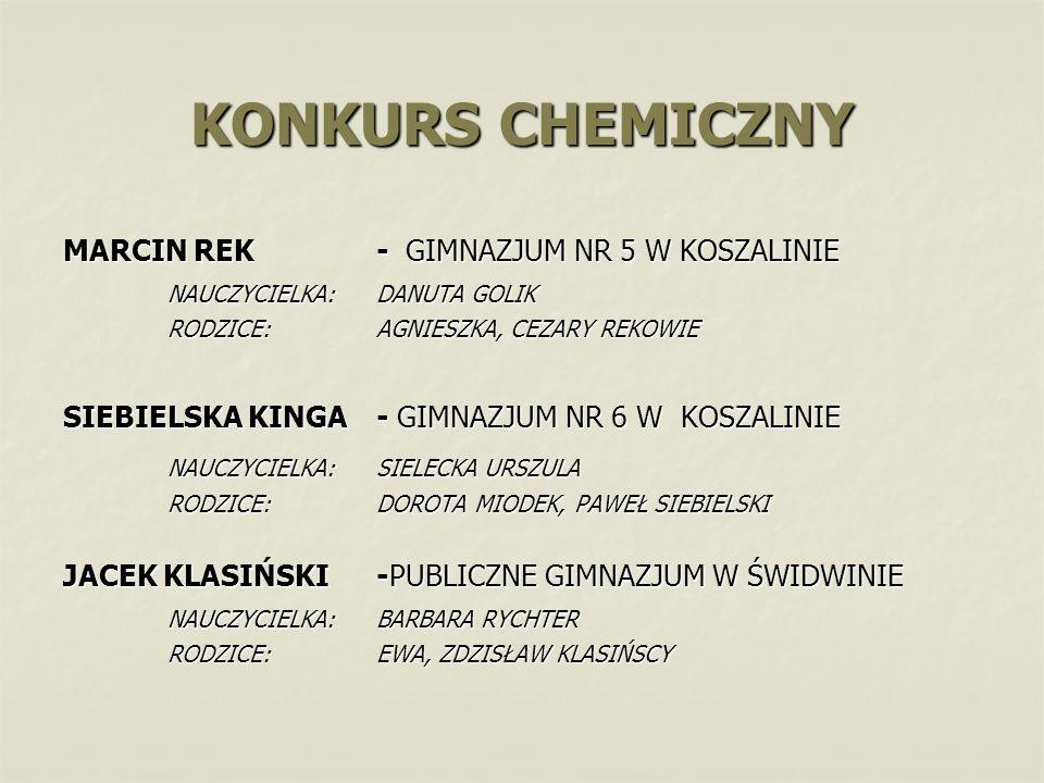 KONKURS CHEMICZNY MARCIN REK - GIMNAZJUM NR 5 W KOSZALINIE NAUCZYCIELKA: DANUTA GOLIK RODZICE: AGNIESZKA, CEZARY REKOWIE SIEBIELSKA KINGA - GIMNAZJUM