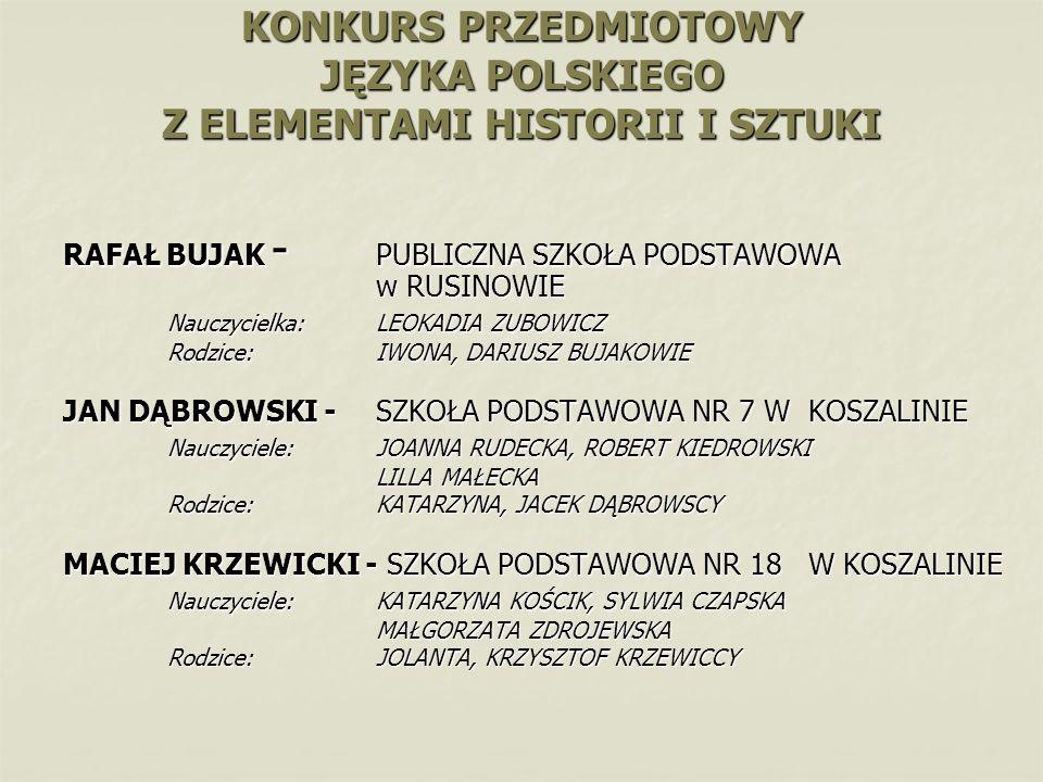 KONKURS PRZEDMIOTOWY JĘZYKA POLSKIEGO Z ELEMENTAMI HISTORII I SZTUKI RAFAŁ BUJAK - PUBLICZNA SZKOŁA PODSTAWOWA w RUSINOWIE Nauczycielka:LEOKADIA ZUBOW