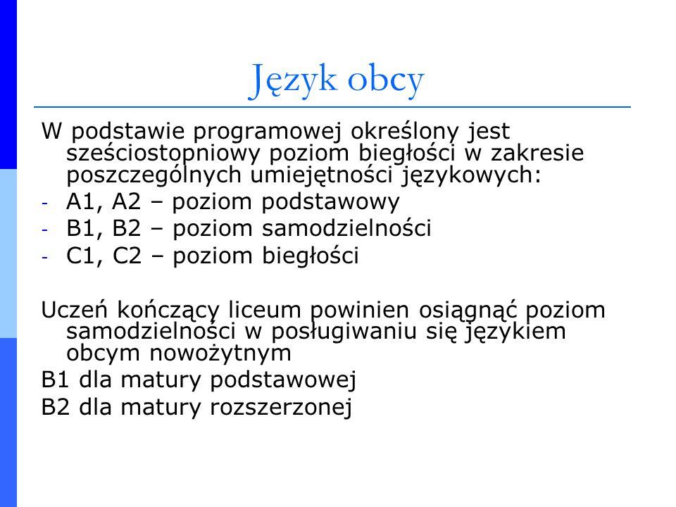 Język obcy W podstawie programowej określony jest sześciostopniowy poziom biegłości w zakresie poszczególnych umiejętności językowych: - A1, A2 – pozi