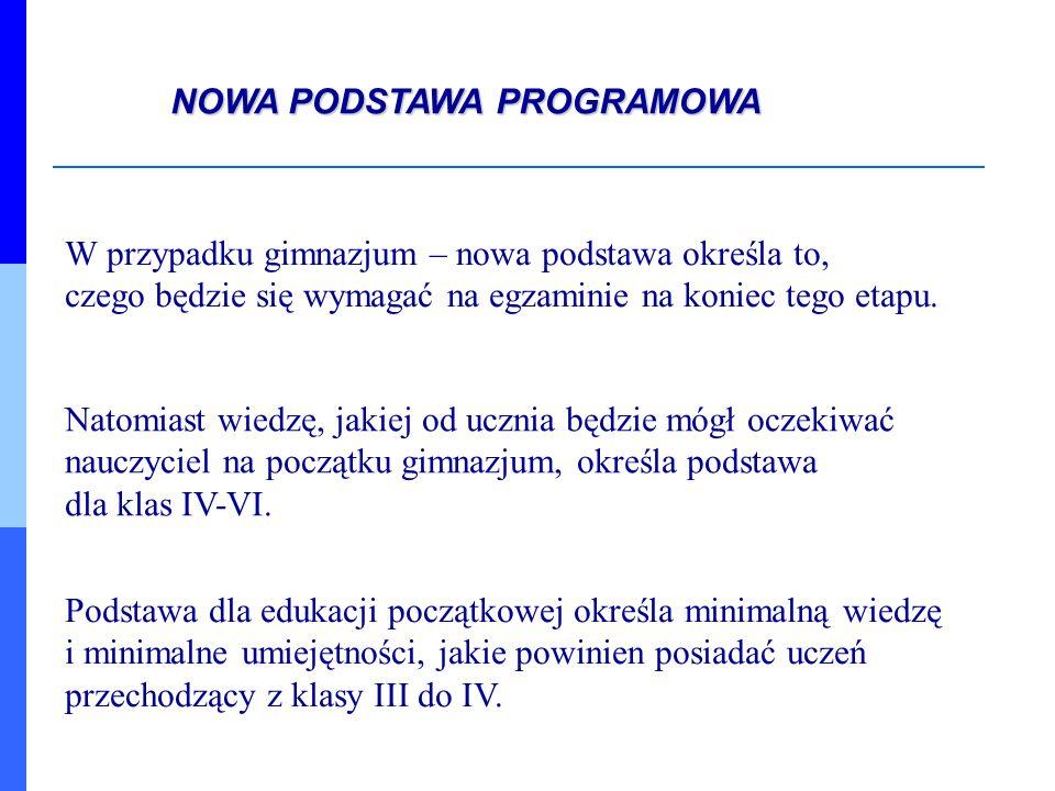 W podstawie wyróżnia się: cele kształcenia (sformułowane jako wymagania ogólne) i treści nauczania (sformułowane jako wymagania szczegółowe) NOWA PODSTAWA PROGRAMOWA