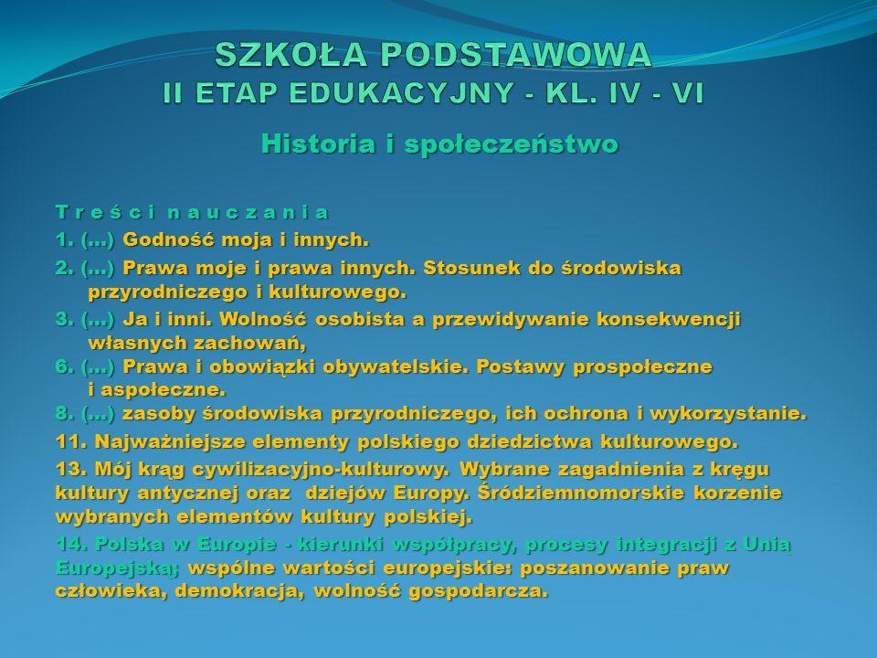 Historia i społeczeństwo T r e ś c i n a u c z a n i a 1. (…) Godność moja i innych. 2. (…) Prawa moje i prawa innych. Stosunek do środowiska przyrodn