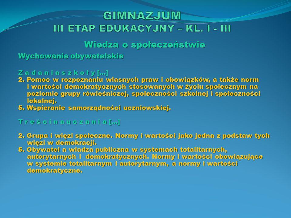 Wiedza o społeczeństwie Wychowanie obywatelskie Z a d a n i a s z k o ł y […] 2. Pomoc w rozpoznaniu własnych praw i obowiązków, a także norm i wartoś